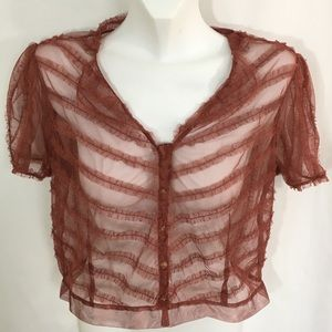 Intuition Mesh Ruffled Button Front Size 8 Top